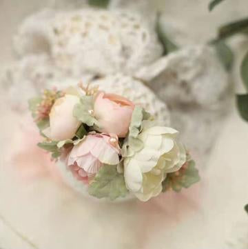 Kate White Pink Florals Newborn Headband Photo Props for Photography