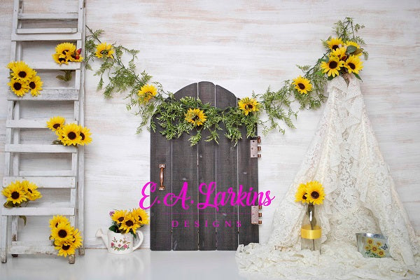 Kate Summer Sunflowers and White Tent Children or Wedding Backdrop for Photography Designed by Erin Larkins