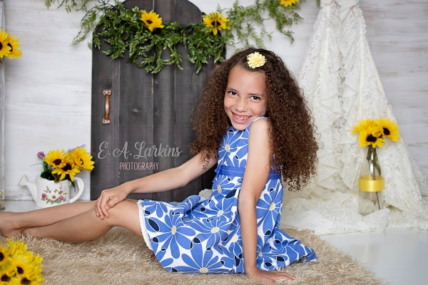 Load image into Gallery viewer, Kate Summer Sunflowers and White Tent Children or Wedding Backdrop for Photography Designed by Erin Larkins