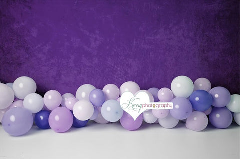 Kate Birthday Cake Smash  Purple Wall with Balloons Children Backdrop Designed by Kerry Anderson