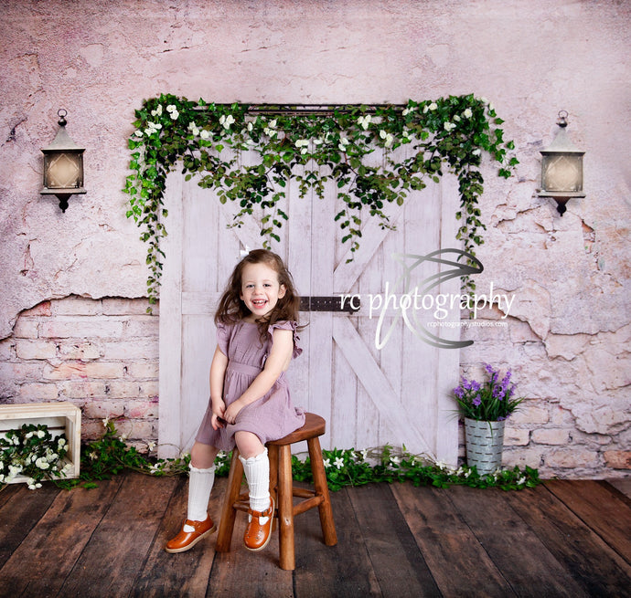 Kate Spring Backdrop Vintage wall Barn Door for Photography