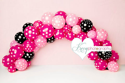 Kate Red Pink Black Speck Balloon Children Backdrop Designed by Kerry Anderson