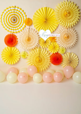 Kate Balloons and Yellow Origami Decorations Children Backdrop Designed by Kerry Anderson