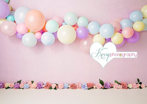 Kate Floral Balloons for Children Birthday Backdrop for Photography Designed by Kerry Anderson