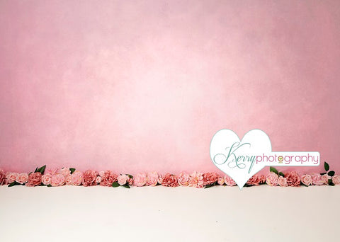 Kate Pink Floral for Children Birthday Backdrop for Photography Designed by Kerry Anderson
