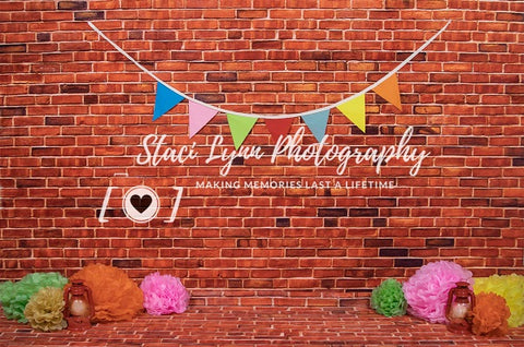 Kate Retro Red Brick with Decorations Backdrop Designed by Staci Lynn Photography
