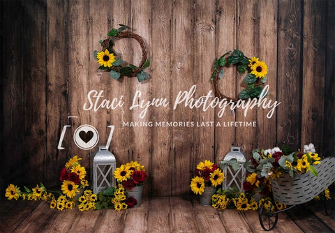 Kate Dark Wood with Sunflowers Children Backdrop Designed by Staci Lynn Photography
