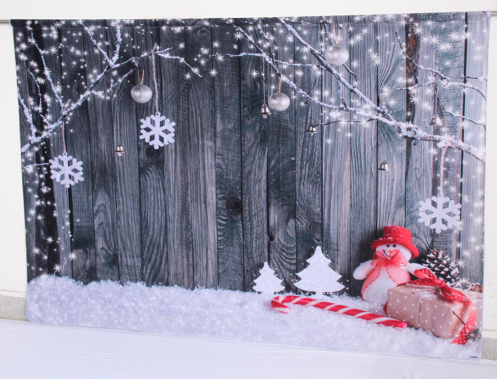 Katebackdrop:Kate Gray Wooden Background snowflake Outdoor decoration Christmas backdrop