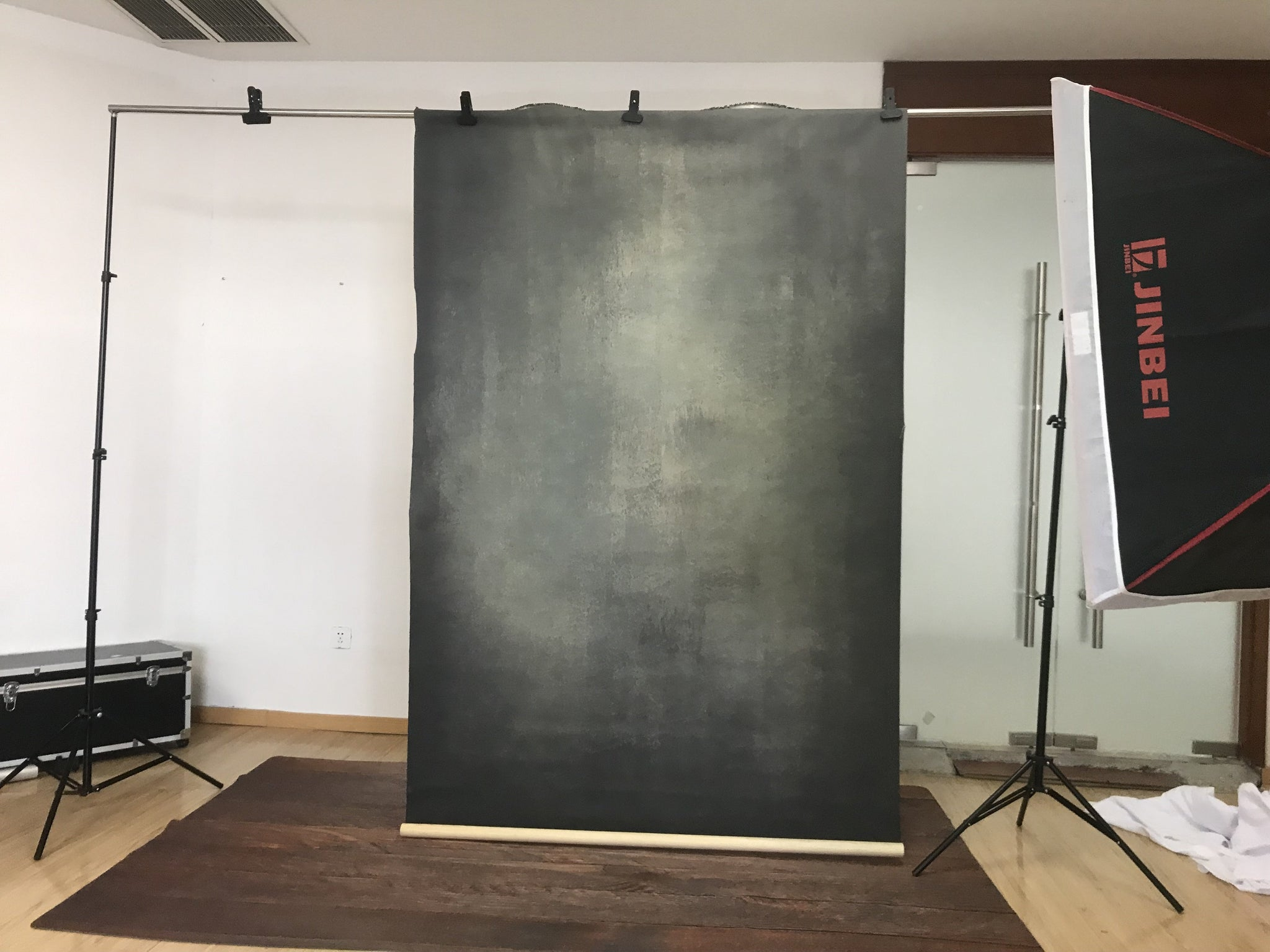 Load image into Gallery viewer, Kate Hand Painted Abstract Texture Dark Green and Black Backdrops