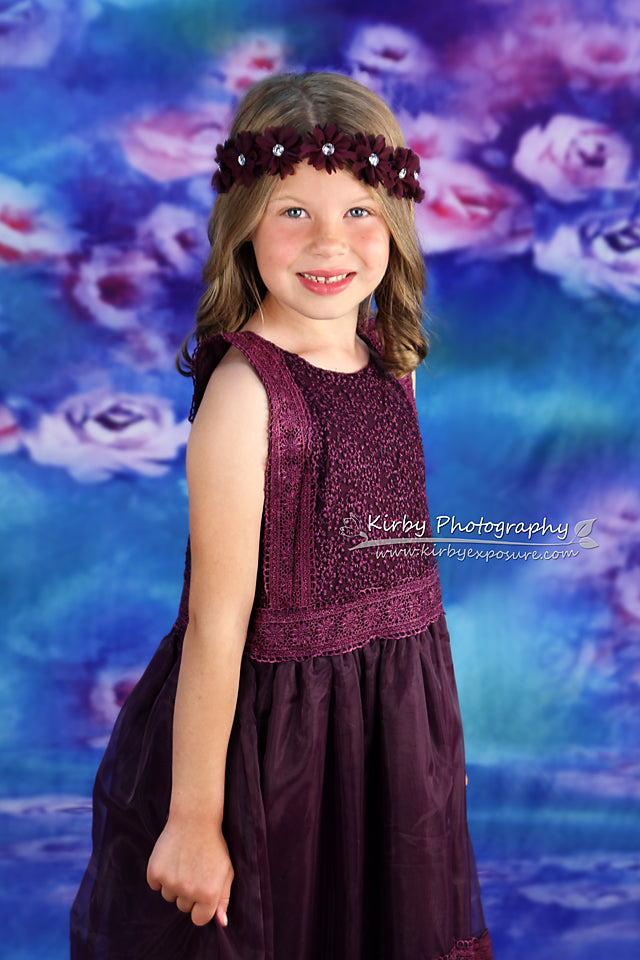 Kate Children Blue With Purple Flowers Backdrop - Kate backdrops UK