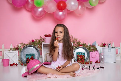 Kate Balloons Flamingo Pink tone Wall with Strawberries and Decorations Girl Children Birthday Backdrop Designed by Erin Larkins