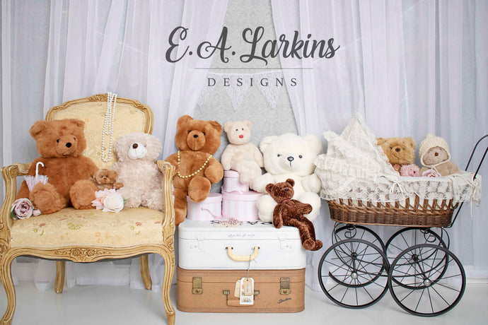 Kate Victorian Teddy Bear Backdrop for Photography Designed By Erin Larkins