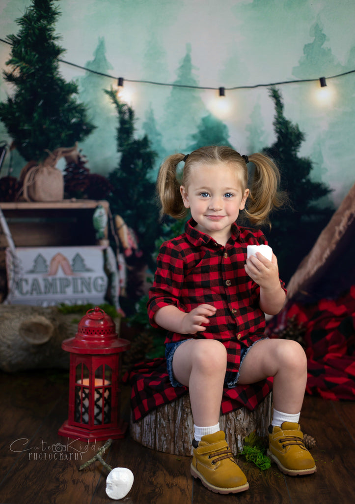 Kate Forest Camping Children Backdrop for Photography Designed by Megan Leigh Photography
