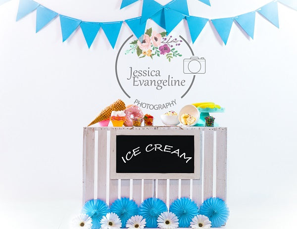 Kate Summer Sweet Ice Cream Children Birthday  Backdrop for Photography Designed By Jessica Evangeline photography