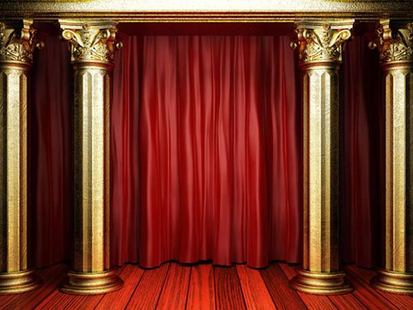 Katebackdrop:Kate Red Stage Curtain Golden Pillar Photography Backdrops