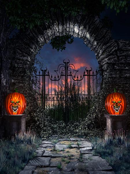 Katebackdrop¡êoKate Brick Wall Pumpkin Heads Backdrop for Halloween Photography
