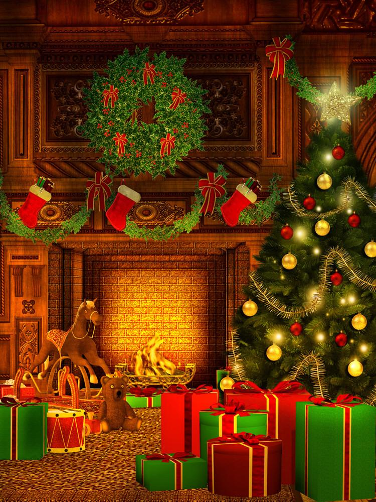 Katebackdrop£ºKate Merry Christmas fireplace Theme Tree With Lights Gifts Photo Booth Props