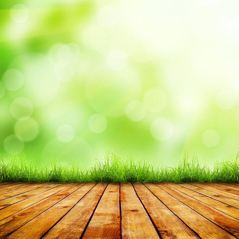 Katebackdrop:Kate Bokeh green background with wooden floor 8x10ft(2.5x3m)-only one