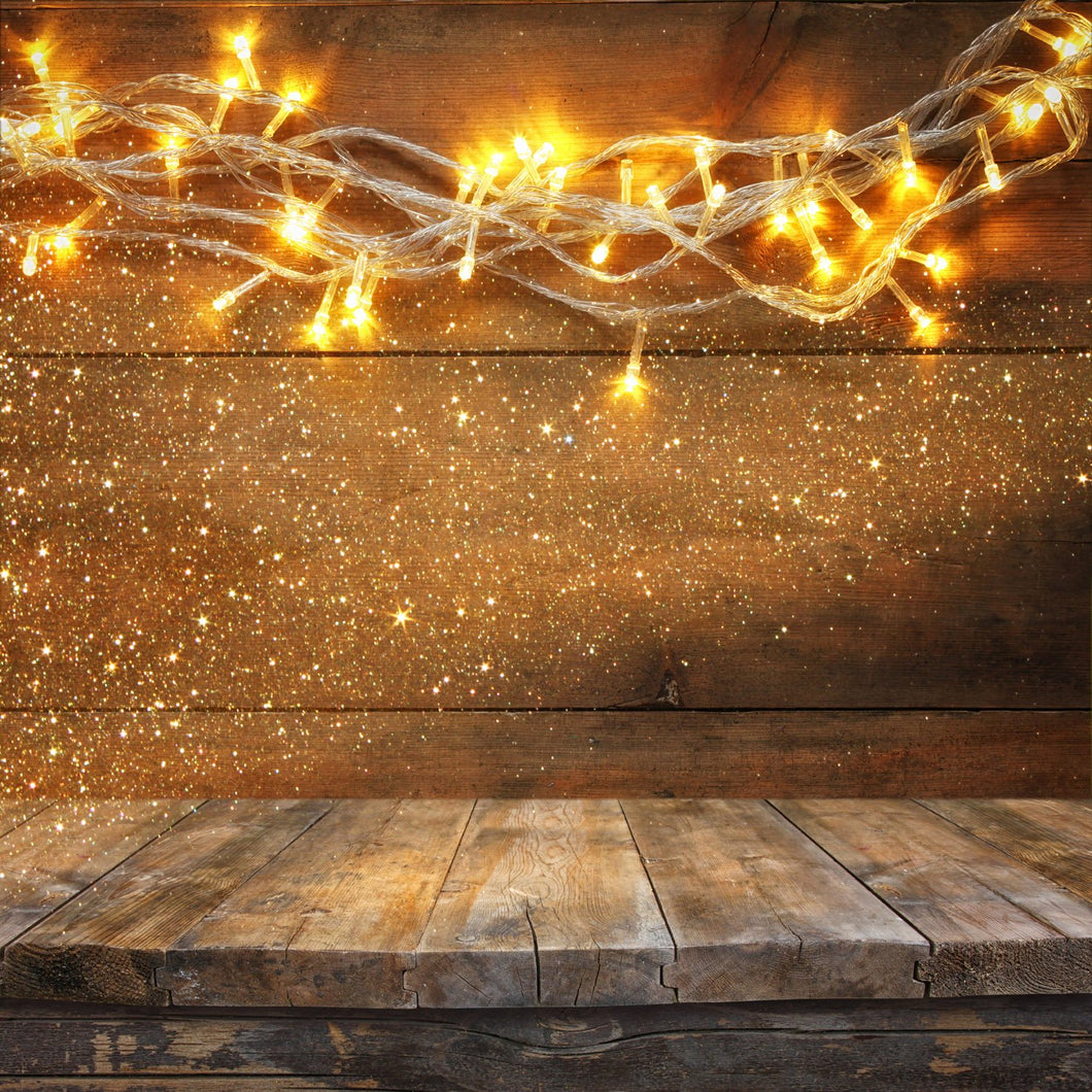 Kate Yellow Glitter Wood backdrop with Floor for Christmas Photography - Kate backdrops UK