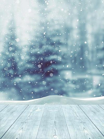 Katebackdrop:Kate Christmas Snow World Blue glitter Photo White Floor Photography Backdrop