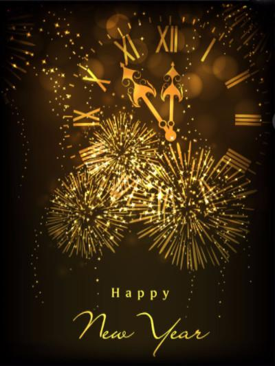 Katebackdrop£ºKate Happy New Year Backdrop Fireworks Black Wall Photo