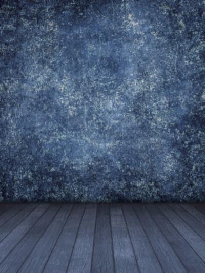 Katebackdrop:Kate Retro Style Blue Texture Wall Backdrops with floor