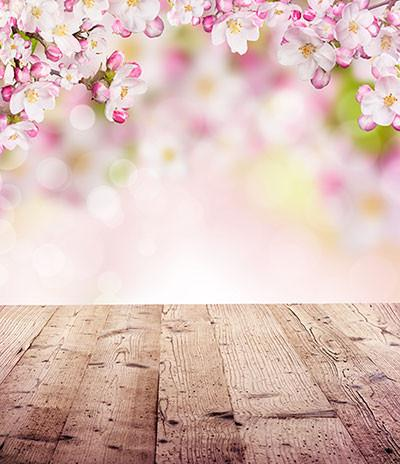 Kate Bokeh Pink Flower Wood Floor Background Spring Photography Backdrop - Kate backdrops UK