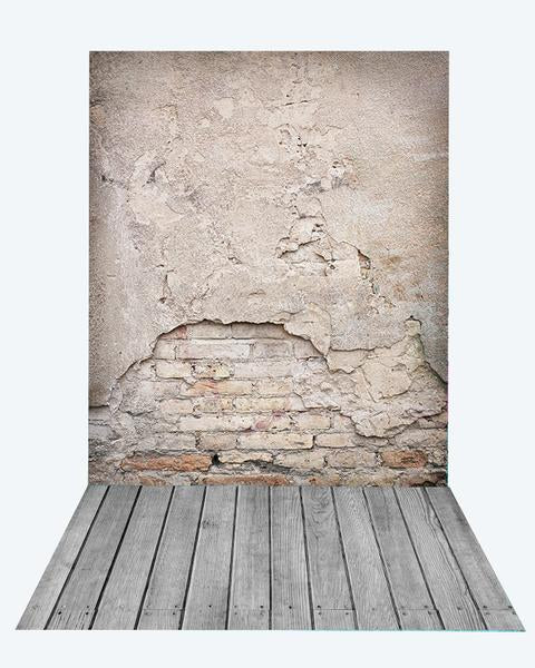 Kate Retro Damaged Cement Brick Backdrop+Gray Wooden Rubber floor mat