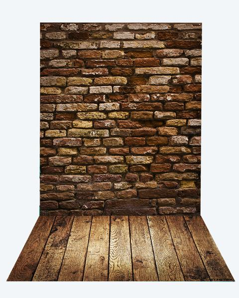 Kate Deep Brown Brick Wall Backdrop+Brown Wood Rubber floor mat