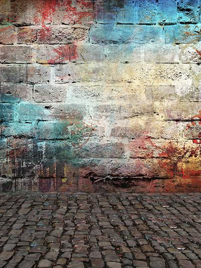 Katebackdrop£ºKate Colorful Brick Graffiti Wall Retro Background For Studio