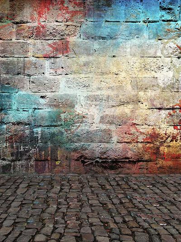 Katebackdrop:Kate Colorful Brick Graffiti Wall Retro Background For Studio