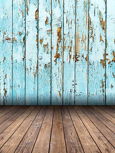 Kate Blue Retro Wooden Wall With Brown Wooden Floor Backdrop - Kate backdrops UK