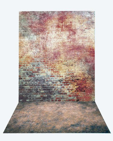 Kate Retro Brick backdrop + texture stone floor mat