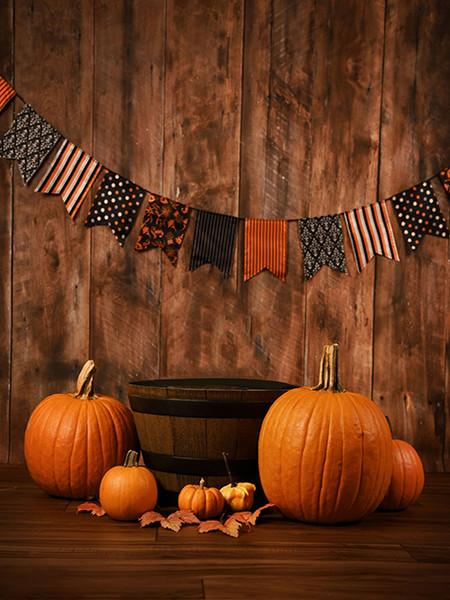 Katebackdrop£ºKate Wooden Wall Floor Photo Halloween Backdrops Pumpkin Photo For Photographers