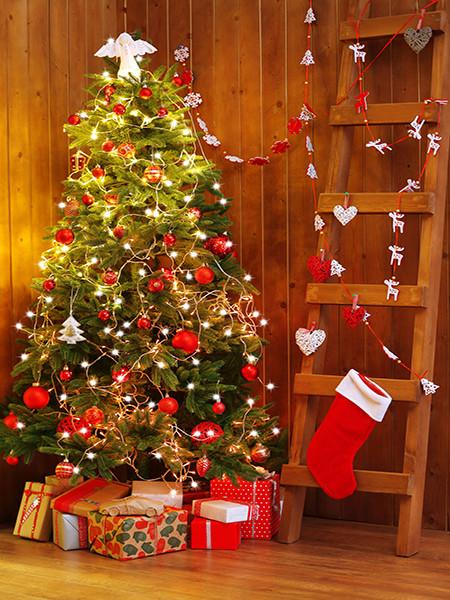 Katebackdrop£ºKate Christmas Photography Backdrops Tree With Bulb Socks Backdrop