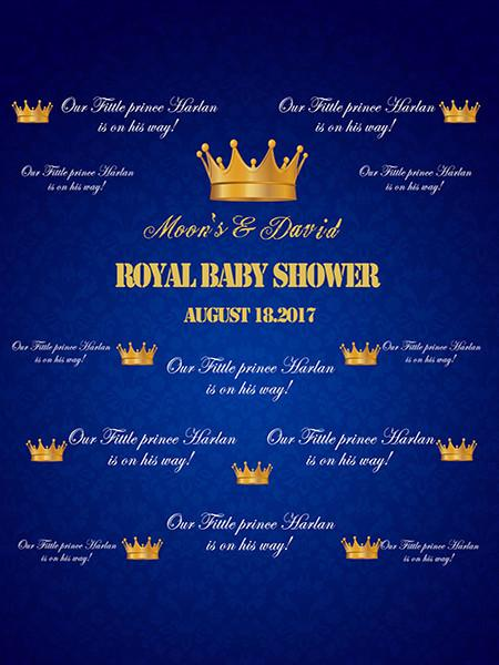 Kate Baby Shower Backdrop Custom Crown Blue Children Birthday Background - Kate backdrops UK