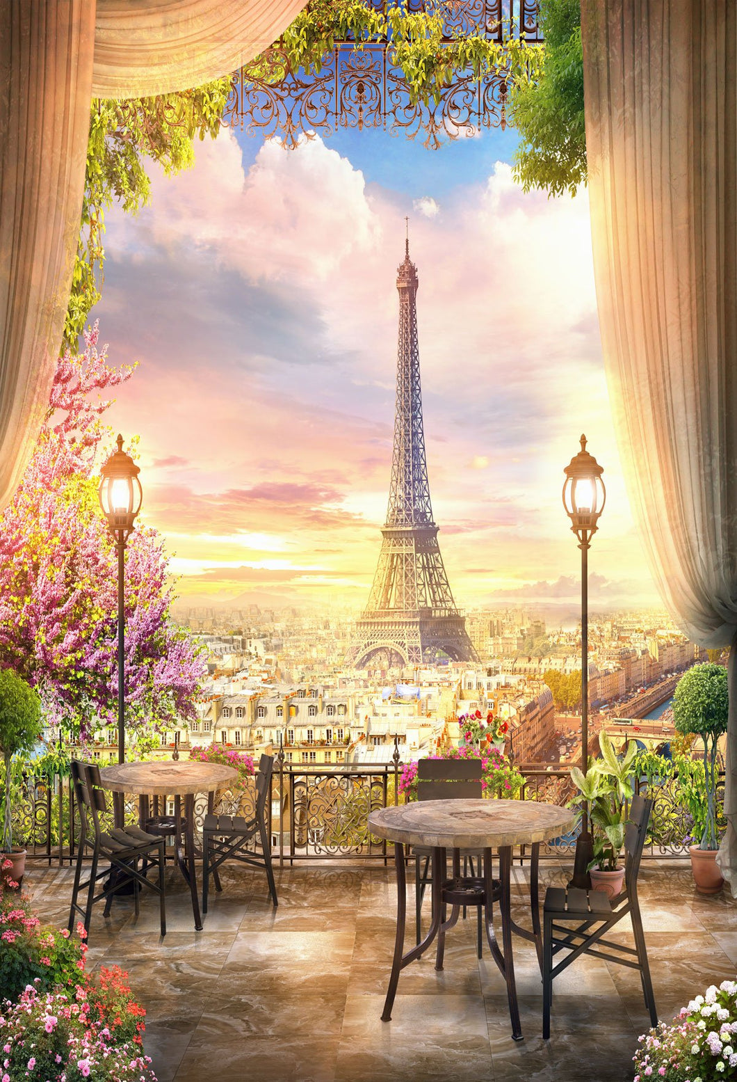Kate Eiffel Tower Travel Sunset Backdrop for Photography - Kate backdrops UK