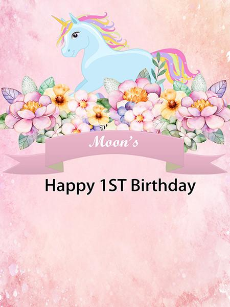 Katebackdrop£ºKate Custom Happy 1St Birthday Pink Background Unicorn Flower Backdrop