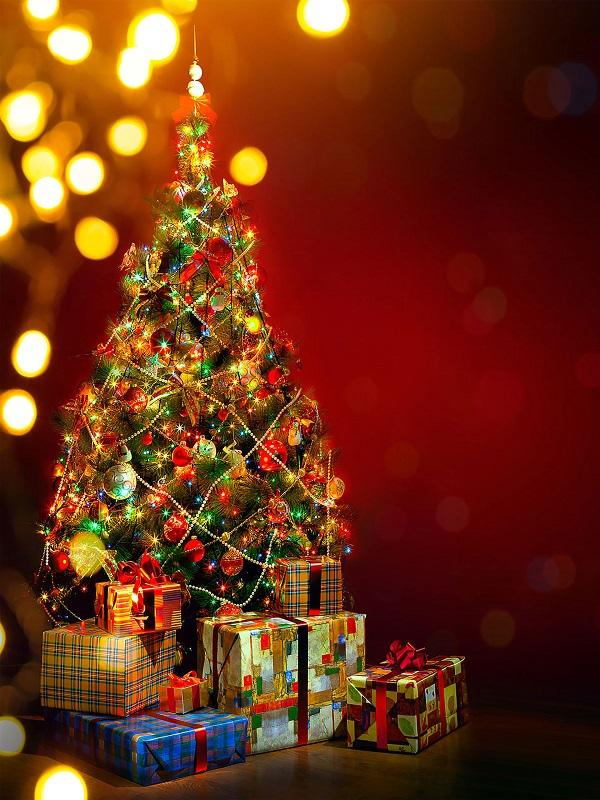 Katebackdrop:Kate Red Christmas tree Bokeh backdrop decoration