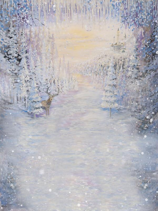 Load image into Gallery viewer, Kate Frozen Forest Deer Winter Painting Backdrop For Children Christmas Photography