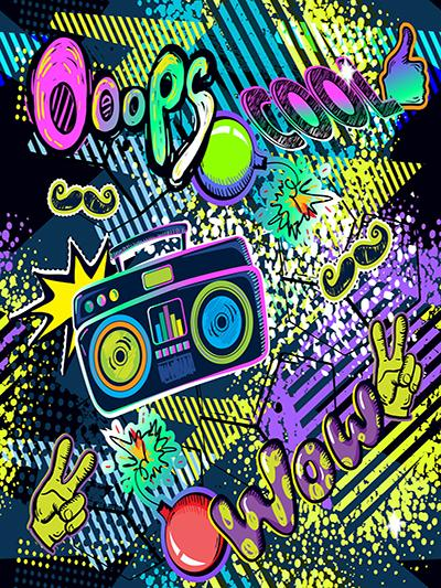 Kate Back to 80's Party Colorful with Radio Background for Photography - Kate backdrops UK