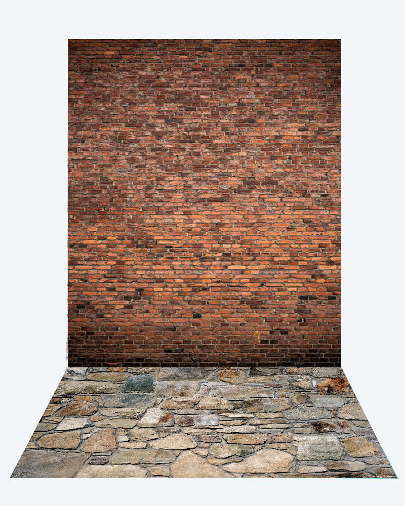 Kate Red Brick backdrop + Stone road Rubber Floor Mat