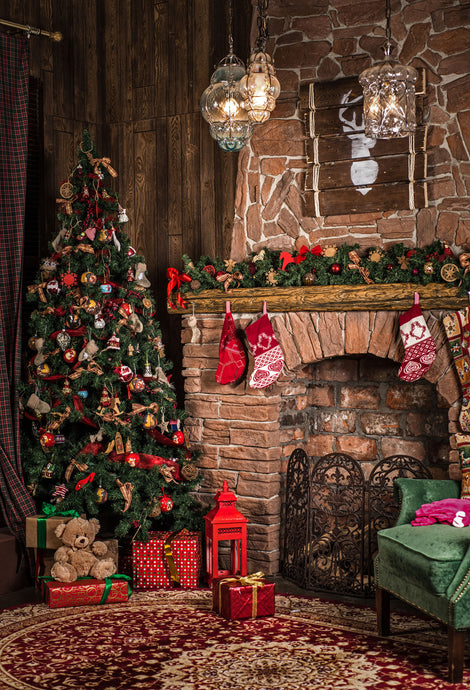 Kate Christmas Brown Interior Backdrop Photography - Kate backdrops UK