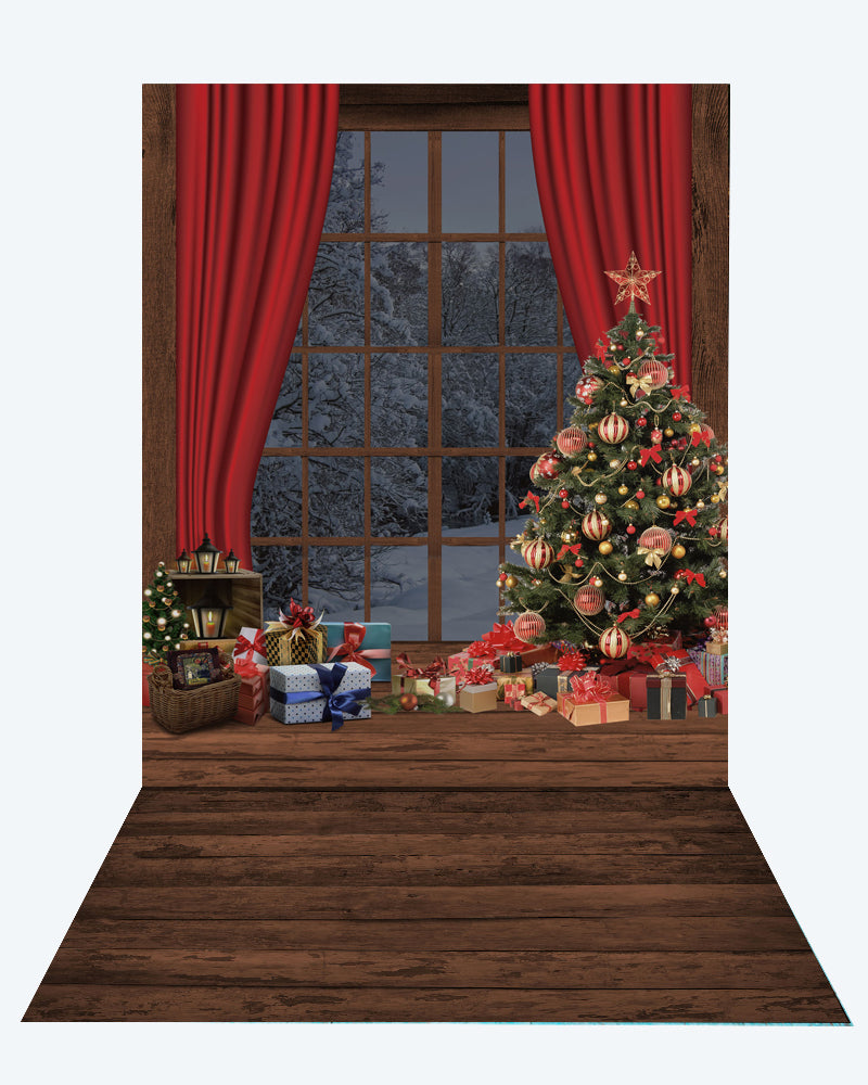 Kate Christmas Window Tree Photography +Brown wood floor mat