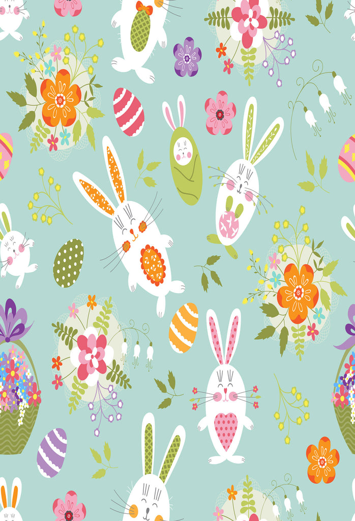 Kate Rabbits And Flowers Easter Backdrop for Photography