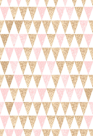 Kate White,Golden and Pink Triangles Backdrop for Photography