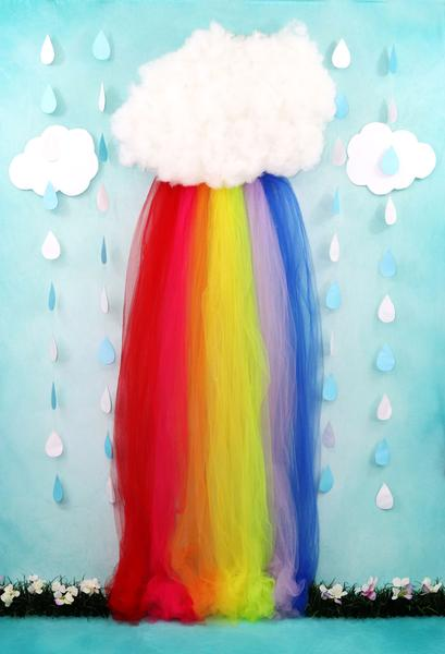 Kate Rainy Spring Rainbow Flowers Children Backdrop Designed by Leann West