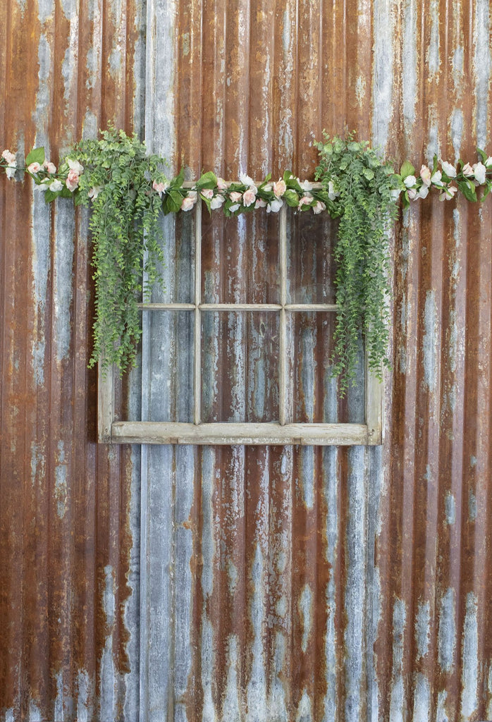 Kate Vintage Rust Wall with Flower Window Decoration Backdrop Designed by Leann West