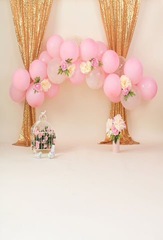 Kate Pink ball and Flower backdrops Designed by Dottie Grenier