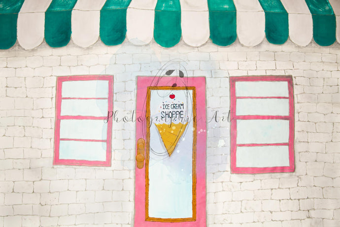 Children Summer Ice Cream Shoppe Backdrop